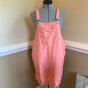 Peach Love Denim Cotton Dress Overalls Size Large